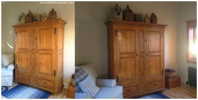 Armoire antique en pin de 80 ''