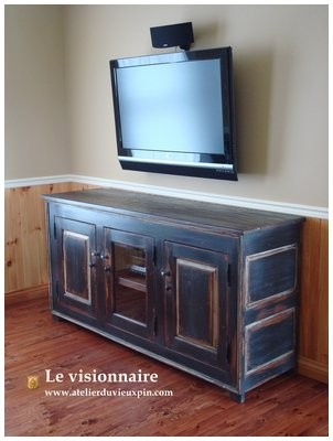 Three sections low cabinet for TV & audio-video