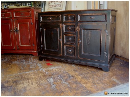 Three section low cabinet